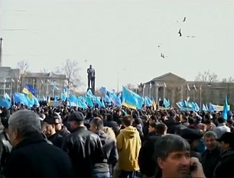2014 pro-Russian unrest in Ukraine - Pro-Ukrainian demonstration by Crimean Tatars in Crimea, February 2014