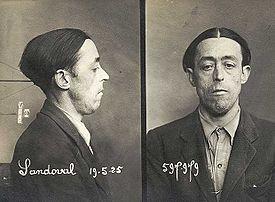 Fotografía de Felipe Sandoval en la ficha policial que se le hizo en Francia en el Año 1925.