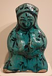 Female figure, Iran, Kashan, late 12th or early 13th century AD, earthenware with painting in black under turquoise glaze - Cincinnati Art Museum - DSC03997.JPG