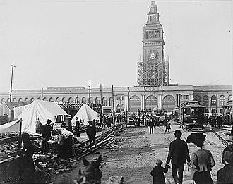 San Francisco Ferry Building - The Ferry Building after the 1906 earthquake