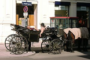 Horse-drawn vehicle - Resting coachmen at a Fiaker (fiacre) in Vienna