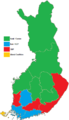 Finnish parliamentary election, 2011 results by constituency.png