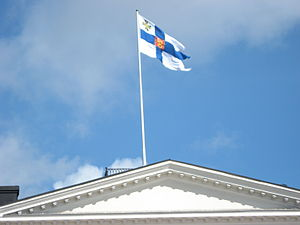 Flag of Finland - The Finnish presidential standard at the Presidential Palace, Helsinki.