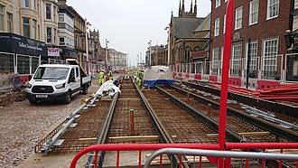 Blackpool Tramway - The first tram tracks are installed on Talbot Road, July 2018.