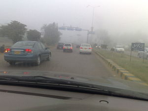A road in Karachi under Foggy conditions