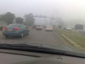 Climate of Karachi - Foggy morning in the winter of Karachi.