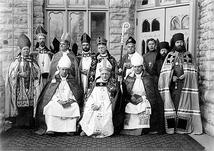 The consecration of the Rt Rev. Reginald Heber Weller as an Anglican bishop at the Cathedral of St. Paul the Apostle in the Episcopal Diocese of Fond du Lac, with the Rt. Rev. Anthony Kozlowski of the Polish National Catholic Church and Saint Tikhon, then Bishop of the Aleutians and Alaska (along with his chaplains Fr. John Kochurov and Fr. Sebastian Dabovich) of the Russian Orthodox Church present Fond-du-lac-circus.preview.jpg
