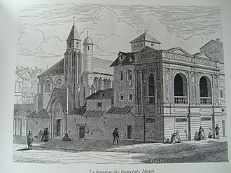 Holy Innocents' Cemetery - Fontaine des Innocents in its original location in the 17th century (19th-century engraving)