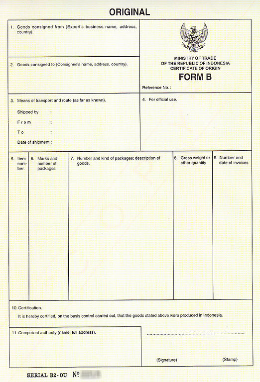 Certificate Of Origin Form Template