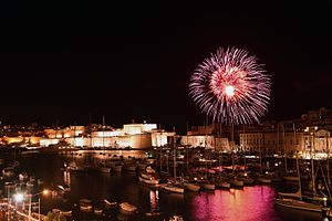 Victory Day (Malta) - Fireworks above Fort St. Angelo on Victory Day 2016, reminiscent of the bombings in World War II