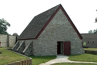 Southern Illinois - The French Fort de Chartres' powder magazine, restored, is thought to be the oldest standing building in Illinois. Constructed out of limestone in 1756.