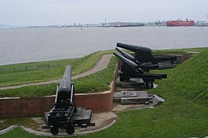 Seacoast defense in the United States - The outer works of Fort McHenry in Baltimore harbor, although built in the 1860s, are broadly similar to early seacoast defense systems prior to the War of 1812, with low earthworks, although mounting much larger cannon and reinforced with masonry. The cannon are 8-inch converted rifles (lined down from 10-inch Rodman guns) and a 15-inch Rodman gun, typical of the post-Civil War era.