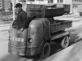 Industriewerke Ludwigsfelde - Multicar M21 being used in the rebuilding of Leninplatz, Dresden in about 1966, photographed by Richard Peter.