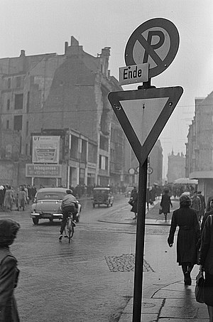 Yield sign - Yield sign Leipzig, East Germany 1951