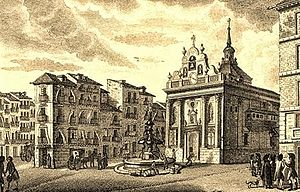 Iglesia del Buen Suceso - Drawing of 1790 with Fountain del Buen Suceso (on top of it was the Mariblanca) and behind the church Iglesia del Buen Suceso between calle de Alcalá and Carrera de San Jerónimo. To left starts calle Montera. Madrid.