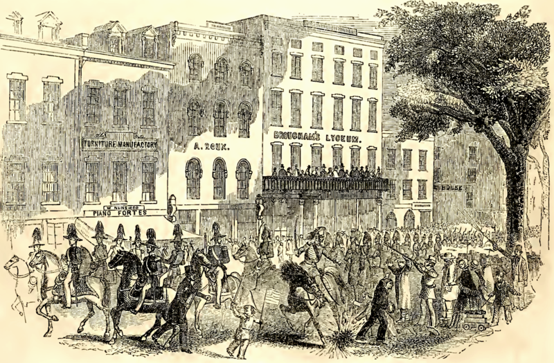 File:Fourth of July Procession Passing Brougham's Lyceum, Broadway, New York.tiff