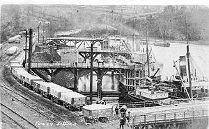 Fowey - Loading china clay circa 1904 (jetty number 1 in foreground)