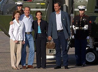 Timeline of the George W. Bush presidency (2004) - President George W. Bush and Laura Bush welcome President Vicente Fox of Mexico and Mrs. Marta Sahagún de Fox to their ranch in Crawford, Texas on March 5, 2004