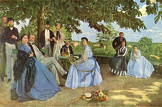 Polka dot - Frédéric Bazille's 1867 painting Family Reunion, containing two women in blue polka dot dresses