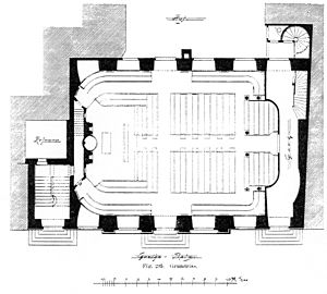 Aisleless church - Floor plan of the French Reformed Church in Frankfurt