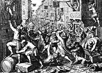 Die Plünderung der Frankfurter Judengasse während des Fettmilch-Aufstands; Stich von Matthäus Merian aus dem Jahr 1628