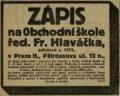Frantisek Hlavacek inzerat 19130911.png