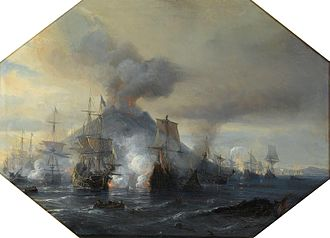 Battle of Stromboli - The Combat against the Dutchs and the Spaniards at Stromboli Jean Antoine Gudin. Oil on Canvas. (1854)