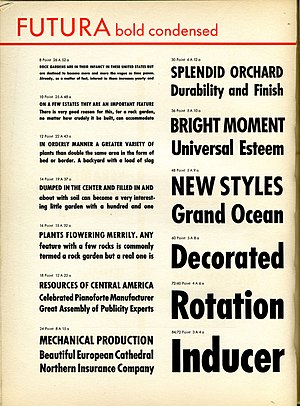 Futura (typeface) - A metal type specimen sheet of Futura Bold Condensed. Many styles and weights of Futura were rapidly created as a brand extension.