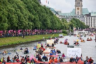 2017 G20 Hamburg summit - Peaceful demonstration in boats, Binnenalster in Hamburg near town hall (2 July)