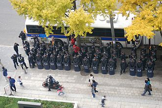 2010 G20 Seoul summit - Image: G20 protests Seoul VOA police