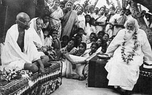 Visva-Bharati University - Rabindranath Tagore with Mahatma Gandhi and Kasturba Gandhi at Santiniketan in 1940