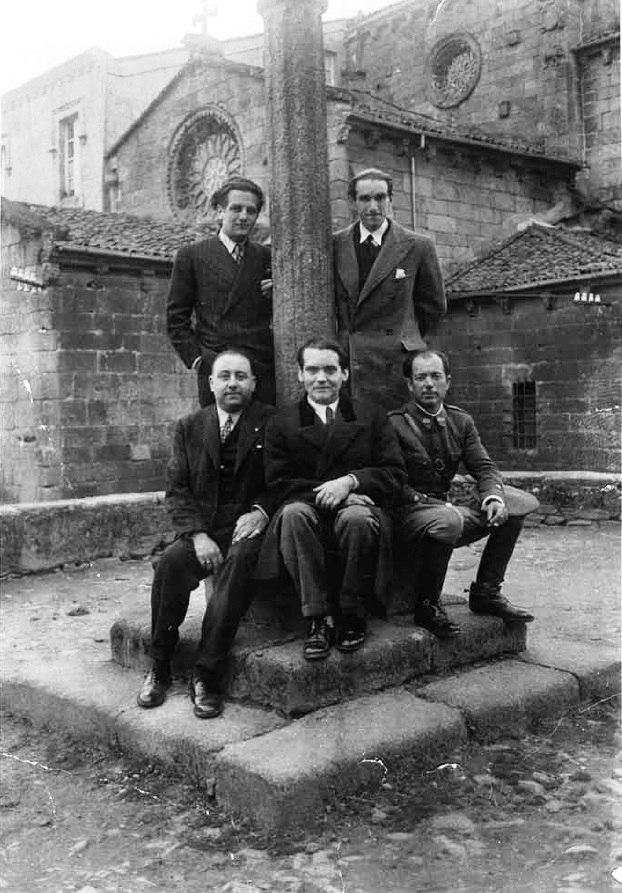 García Lorca en Betanzos con Ramón Fernández Cid, José Álvarez Sánchez-Heredero, Francisco Esteve Barbá e José Barbeito. Maio 1932