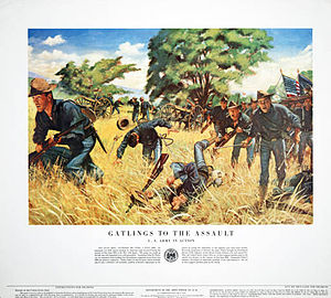John Henry Parker (general) - Poster depicting soldiers fighting in a field while guns from Parker's detachment fire in the background