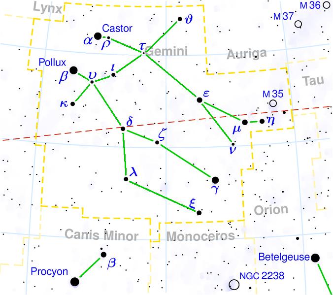Gemini constellation map visualization