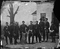 Gen. George B. McClellan and staff of eight; recognized -- Gen. Martin T. McMahon, Gen. George W. Meade, Col. Albert V. Colburn, Gen. Nelson B. Sweitzer, Capt. Prince de Joinville, Capt. Count de Paris. (4153843464).jpg