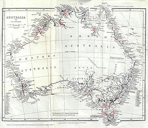 "HMS Beagle - 1846 ""General Chart of Australia"", showing coasts examined by Beagle during the third voyage in red, from John Lort Stokes' Discoveries in Australia"