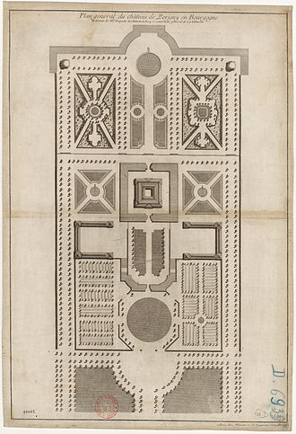 Claude Desgots - Gardens of the Château de Perrigny in Burgundy as designed by Desgots c. 1720 (from Jean Mariette's L'Architecture françoise, vol. 3, 1727)