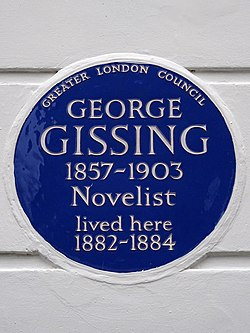 George gissing 1857 1903 novelist lived here 1882 1884