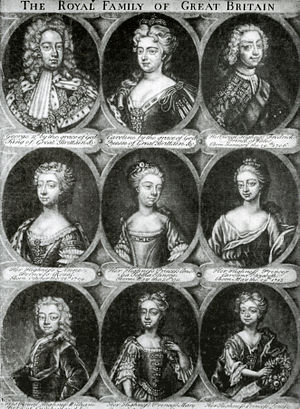 Caroline of Ansbach - Engraving of the royal couple and their seven children who survived infancy