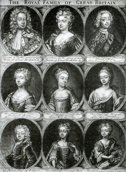 Engraving of the royal couple and their seven children who survived infancy George II, Queen Caroline, and children.jpg