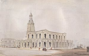 William Mason (architect) -  George O'Brien's c.1865 watercolour of the Dunedin Post Office,designed by William Mason.