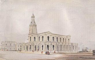 William Mason (architect) -  George O'Brien's c.1865 watercolour of the Dunedin Post Office,designed by William Mason.