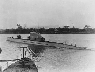 Type XXI submarine - German submarine U-3008 in Portsmouth Naval Shipyard, Kittery, Maine.