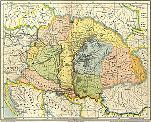 Gesta Hungarorum - A map which depicts the Carpathian Basin on the eve of the Hungarian Conquest taking into account the narration of the Gesta Hungarorum