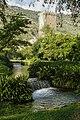 Giardino di Ninfa-torre con ruscello.JPG