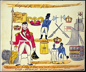 History of Barbados - Sketch of a flag taken from rebels against slavery in Barbados, after the uprising known as Bussa's Rebellion (1816). The flag appears to stress the rebels' loyalty to Britain and to the Crown while conveying their earnest desire for liberty. British forces on Barbados suppressed the revolt and hundreds of the rebels were killed.