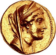 Gold coin of Cleopatra Thea as wife of Alexander I Balas.jpg