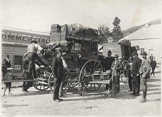 Queenstown Police Station - Gold escort, Roxburgh, Central Otago - Photograph taken by J H Ingley, 1901