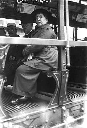 Goldman on a streetcar in 1917, perhaps during a strike or demonstration. Goldman.jpg