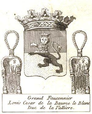Louis César de La Baume Le Blanc - Arms as Grand Falconer of France
